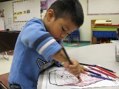 Children learn to paint